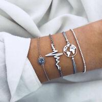 NEW 4 PCS  Women Bracelet Silver Elegant Charming Jewelry Bracelet Set Gitf