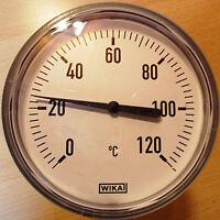 "Bimetall-Thermometer mit Tauchhülse 1/2"" AG x 60mm Wika Gehäuse 63mm Ø 0-120°C"