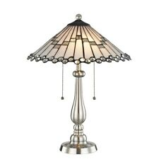 Dale Tiffany Jensen Tiffany Table Lamp, Brushed Nickel - STT17022