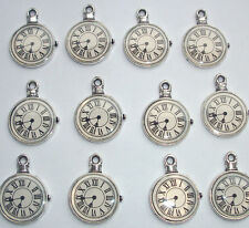 6 Pocket Watch Clock Face Charms Silver Tone Metal
