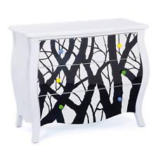 Kommode Sideboard Massivholz Weiß/Schwarz Baumdesign 3-Schubladen NEU