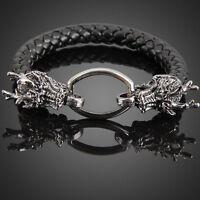 Dragon Head Ring Man Braid Bracelet Weave Leather Hand Band Bangle Black