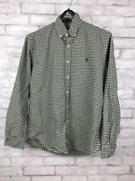 Polo Ralph Lauren Custom Fit Gingham Long Sleeve Button Down Shirt Green Large