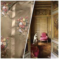 Designer 100% Silk Taffeta Dupioni Decorating Fabric Embroidery Floral Gold
