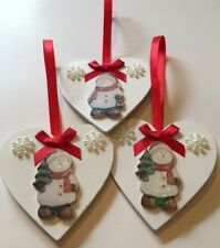 3 X Snowman Tree Christmas Decorations Handmade Shabby Chic Real Wood Red