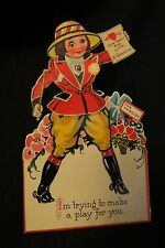Vintage Equestrian Heroine Valentine Card c. 1920s Germany