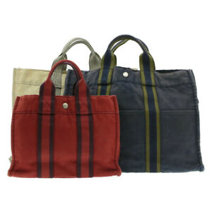 HERMES Fourre Tout PM MM Hand Bag Navy Red Beige 3Set Cotton Auth th562