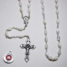 Genuine Oval Mother of Pearl Rosary - Bonus st Anthony Relic Medal