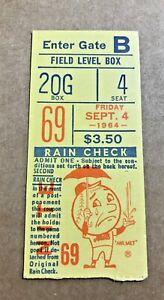 Don Drysdale Win #139 Shutout #27 1964 9/4/64 Mets Dodgers Ticket Stub DH