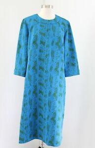 Vtg 50s 60s Blue Green Floral Knit Shift Dress Size L XL ? Retro Modest