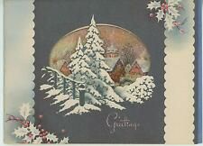 VINTAGE CHRISTMAS HOUSES GRAY COLORS WHITE SILHOUETTES VILLAGE TREE CARD PRINT