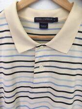 "DANIEL CREMIEUX XL ""DEFINITIVE"" Polo Shirt SS 100% Cotton Ivory Blue Stripe EUC"