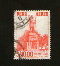 POSTAGE STAMP : PERU - AEREO - MONUMENTO AL INCA MANCO CAPAC 1926 - RED - 10.00