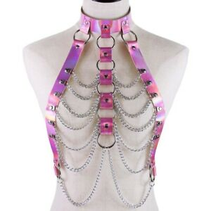 Holographic Body Chain Harness Top Punk Women Rainbow Waist Jewelry Belt Outfit