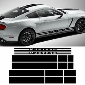 Side Door Roof Trunk Front Stripe Decal Sticker for 2015-2017 Ford Mustang Black
