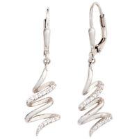 Boutons Ohrhänger Ohrringe Schlangen mit Zirkonia weiß 925 Silber, Damen