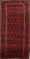 Vintage Tribal Balouch Oriental Area Rug Hand-Knotted Wool Geometric Carpet 5x9