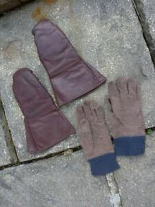 WWII / 1950's RAF Royal Air Force Leather Flying Gloves Mittens Gauntlets
