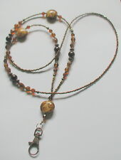 """Golden Brown"" perles de verre ID Lanyard Badge Holder collier fait main"