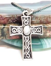 """CELTIC CROSS_Small Pendant on 18"""" Chain Necklace_Irish Knot Pagan Silver_68N"""