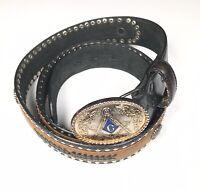Vintage Freemason Cowboy Style Men's 42/105 #7121-36 Geniune Leather Black Belt