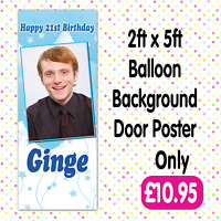PERSONALISED 2 PHOTO BIRTHDAY PARTY DOOR BANNERS ANY AGE, NAME EVENT A008