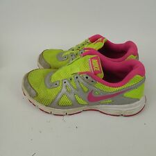 NIKE REVOLUTION 2 Running Shoes Neon Yellow Pink 555090-761 Girls 4.5 Youth Used
