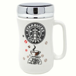SET OF 2 STARBUCKS TRAVEL MUG CERAMIC COFFEE TEA CUP LID WORK HOT COLD DRINKS