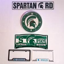 MICHIGAN STATE SPARTANS Wall Clock Street Locker Sign License Plate Holder SET