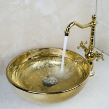 Gold Ceramic Bathroom Basin Sink Antique Brass Mixer Faucet Tap Pop-Up Drain Set