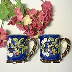 Nouveau Majolica CBK LTD TWO Coffee Mugs Cobalt Blue Raspberry Blossom Vine 1991