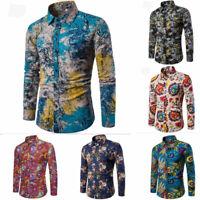 Fashion Men's Dress Shirt Dashiki Hippie Shirts Slim Tops Hip Hop Casual Shirt