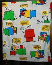Vintage 1971 Peanuts Snoopy Woodstock TWIN Size Flat Bed Sheet - Happiness Is