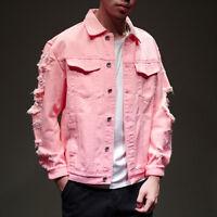 Hot Men Distressed Ripped Denim Jacket Blazer Casual Retro Top Trucker Jean Coat