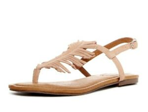 Corso Como Womens Cheryl Tan Suede Fringe Flat Casual Sandals Size 8.5 - 231213