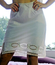 VTG Ivory Silky Smooth Crepe Delicate Cutwork Lace Half Slip Skirt sz 29-42""