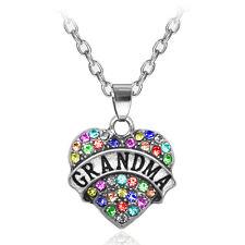 New Grandma Family Crystal Love Heart Pendant Rhinestone Necklace Chain Jkj12