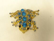 Golden Frog Toad Jewelry Pin Brooch Alilang Sapphire Crystal & Bead Embedded