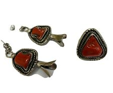 New ListingNavajo Sterling Silver and Coral Earring and Ring Set