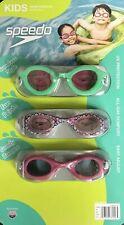 New Speedo Kids Girls Youth Pool Beach 3 Pack Swim Goggles UV Protection 3 - 8yr