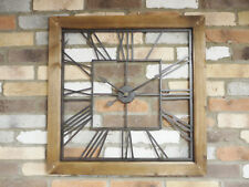 Large Square Clock Wall Mounted Glass Wooden 71cm Timepiece Roman Numerals