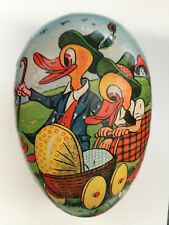 Vtg Paper Mache Easter Egg Candy Container Germany Duck Parents w Baby Stroller