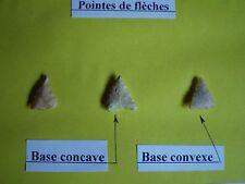 Préhistoire néolithique 1 lot de 3 pointes de flèche en silex
