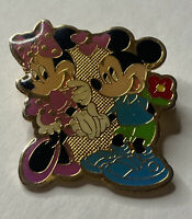 """Disney MICKEY MOUSE & MINNIE MOUSE Holding Hands w/Flowers Enamel Pin 1 1/4"""" X 1"""