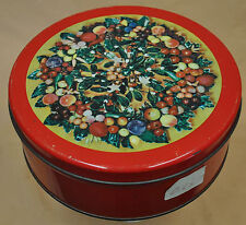 Metal Tin Can Box Container Gift With Lid Berries and Cherries