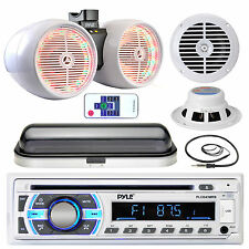 "Pyle AUX Bluetooth Radio, 6.5"" Boat Speakers, 400W LED Speakers, Antenna, Cover"