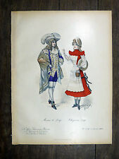 Lithographie 1901 Loup & Chaperon rouge MODE COSTUME Coiffure Parisienne SOLAR