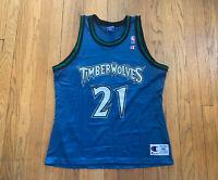 Minnesota Timberwolves Vintage 90's Kevin Garnett Champion Jersey Mens 44 L EUC