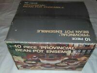 Vintage 10pc Provincial Earthenware Bean Pot / Soup Bowls with Lids. (In Box)