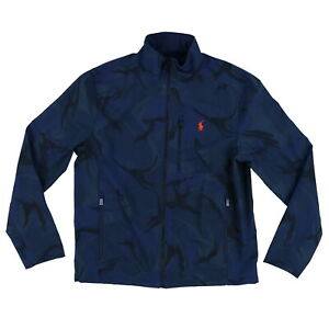 Polo Ralph Lauren Mens Jacket Pony Logo Blue Camo Coat Full Zip Side Pockets M